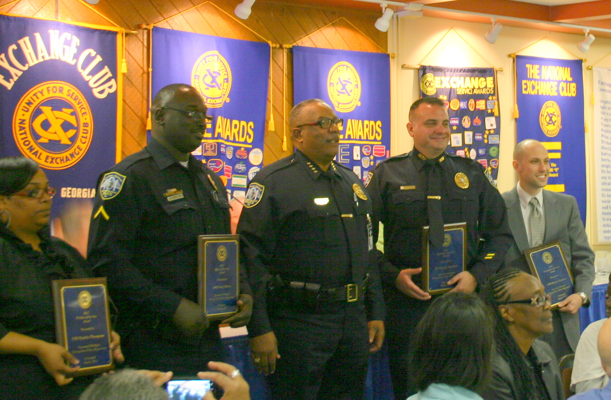 PHOTO: Civilian of the Year Tanisha Thompson, Officer of the Year Larry Brown, Chief Willie Lovett, Supervisor of the Year George Gundich and Investigator of the Year Robert Santoro