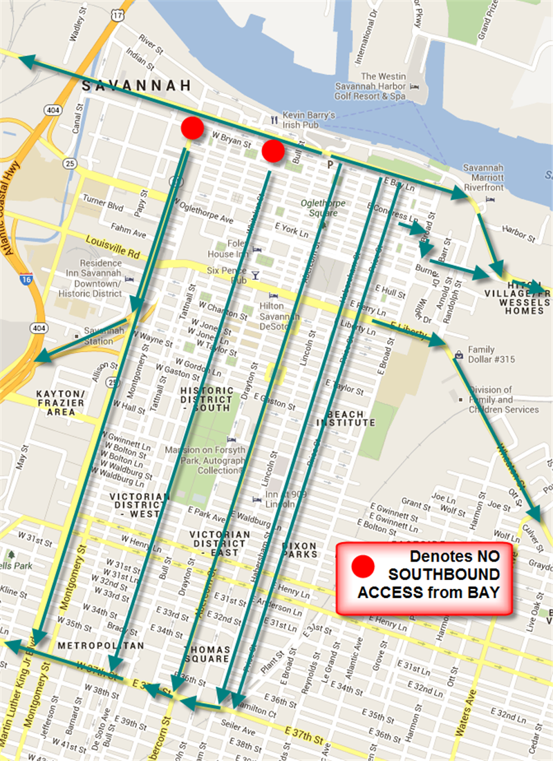 MAP: Green arrows illustrate traffic patterns expected to be used leaving Downtown after the fireworks on July 4.Westbound traffic on Bay will be directed to East Lathrop or Garden City to access I-16. Eastbound traffic will be directed to Price Street or President Street and Truman Parkway. Turns from Bay Street will not be permitted onto MLK or Whitaker.