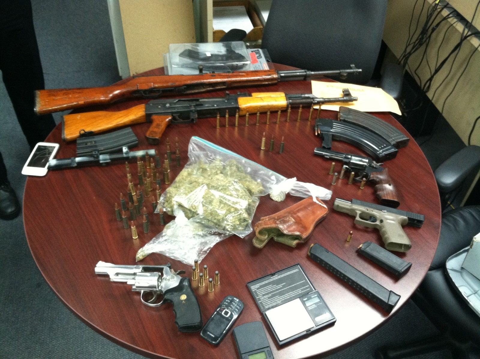 Guns and drugs collected by police
