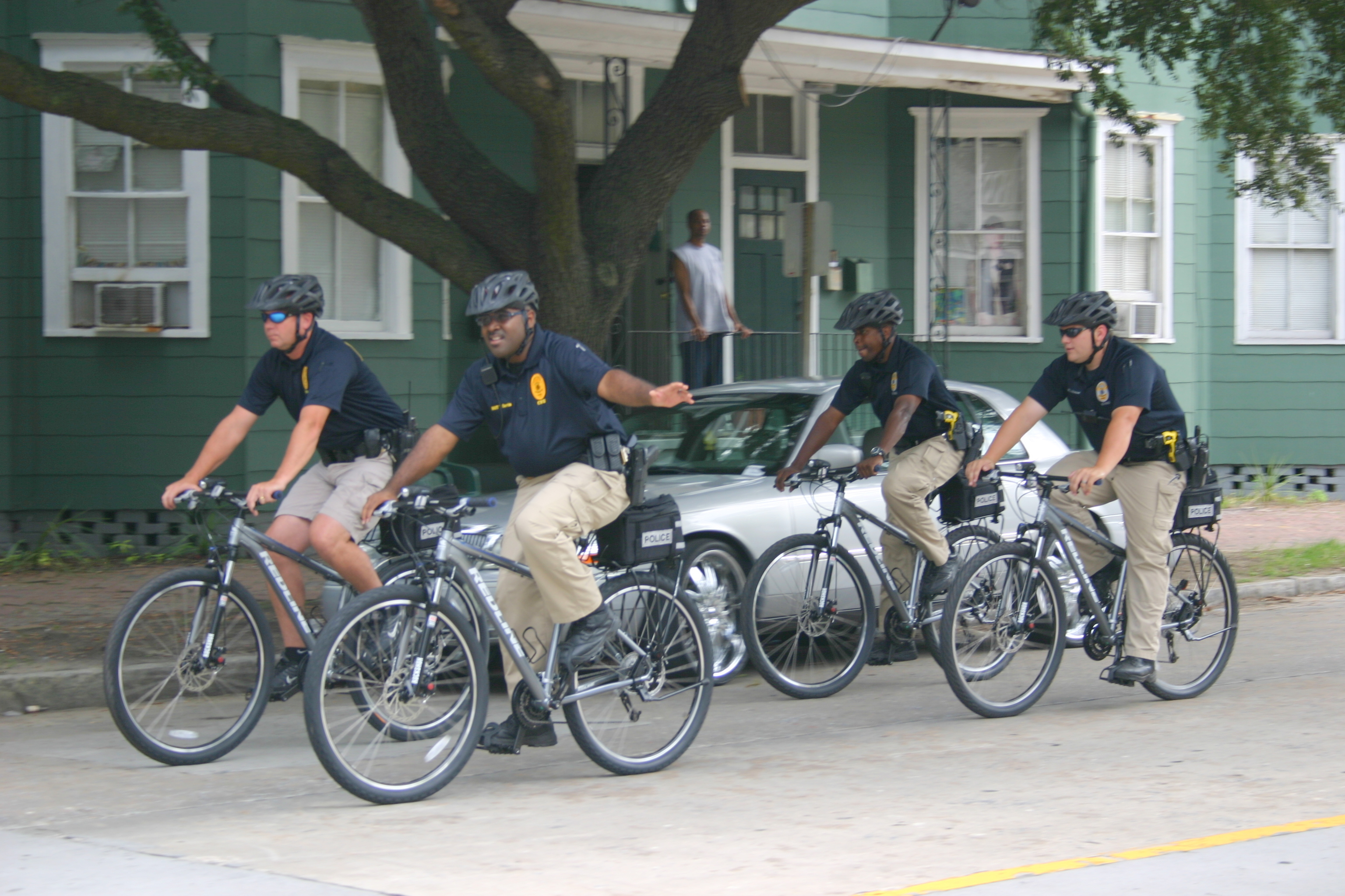 Central Pct, CSU officers on new police bicycles.