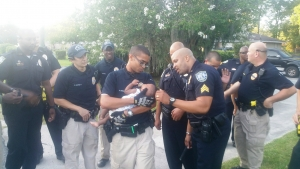 Baby with officers