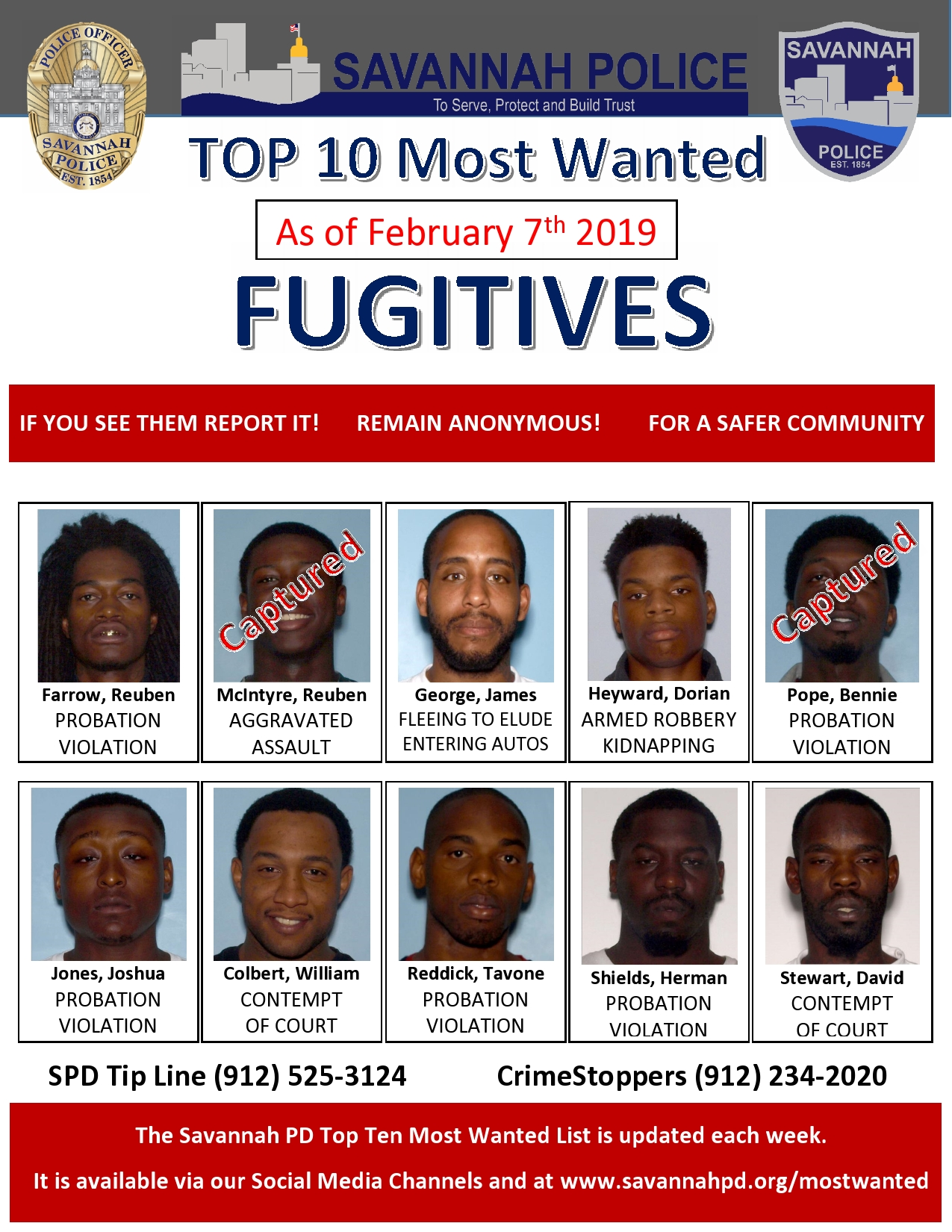 Fbi Most Wanted List 2020.Savannah Pd S Most Wanted Savannah Police